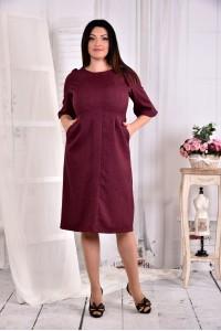 Бордовое однотонное платье 0569-2