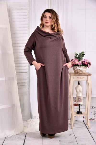 Фото Коричневе трикотажна сукня з коміром 0570-3