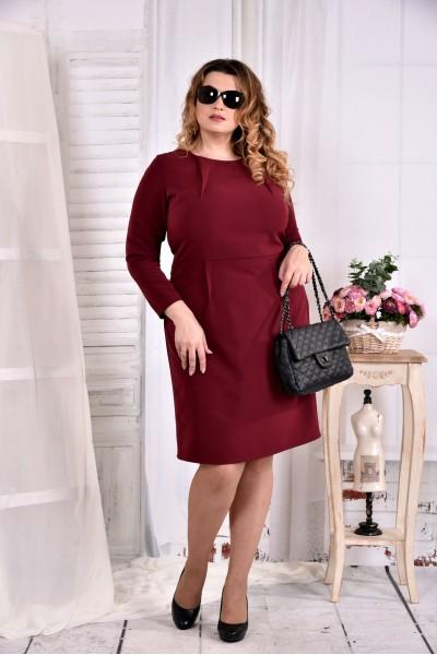 Фото Бордовое однотонное строгое платье 0573-3