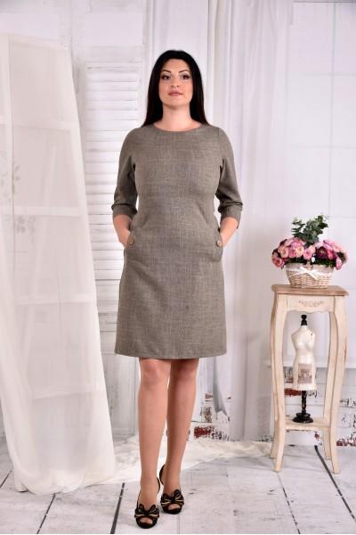 Фото Гірчичне плаття до коліна з кишенями 0574-3