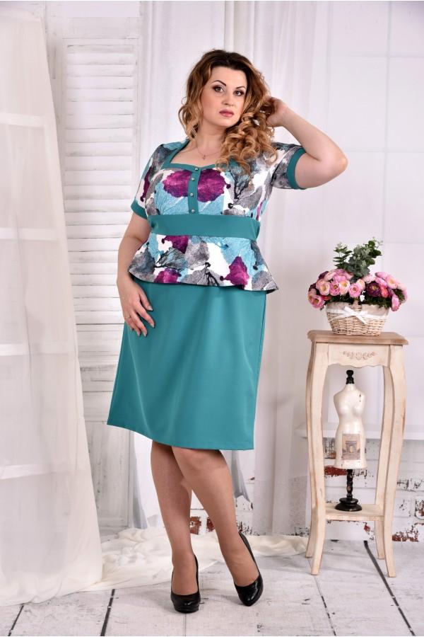 Фото Бирюзовое платье с баской 0575-2