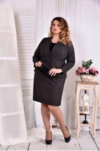 Фото Темно-серый офисный костюм 0578-1. Жакет + юбка