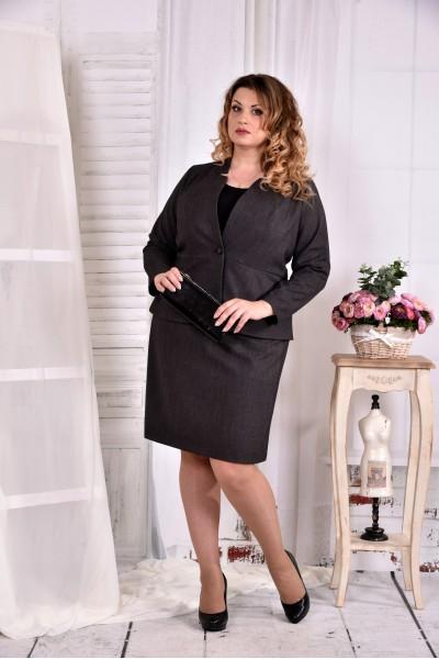 Фото Темно-сірий офісний костюм 0578-1. Жакет + спідниця