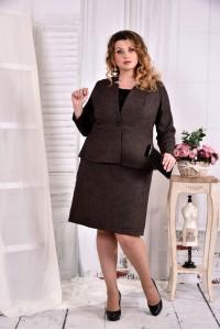 Фото Коричневый деловой костюм с юбкой 0578-2. Жакет + юбка