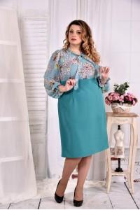 Фото Бирюзовое платьее с зветочками 0581-3
