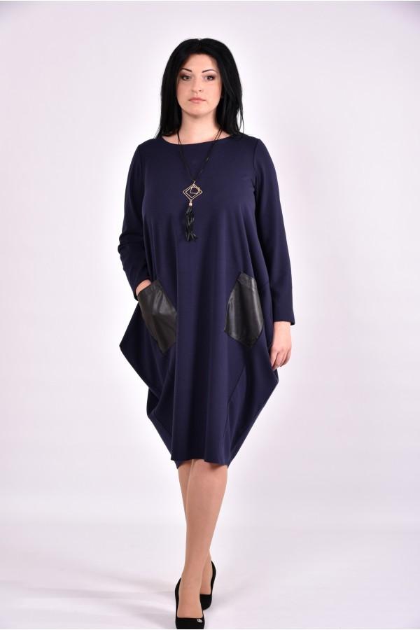 Фото Синее платье-туника с карманами | 0594-1