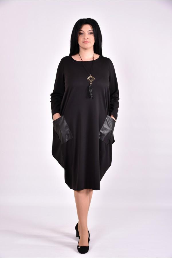 Фото Черное свободное платье туника | 0594-2