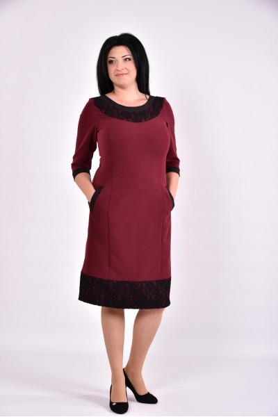 Фото Бордовое платье миди | 0599-2