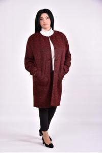 Фото Бордовое демисезонное пальто | 0602-1