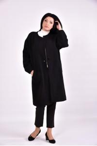 Фото Строгое черное женское пальто | 0602-4