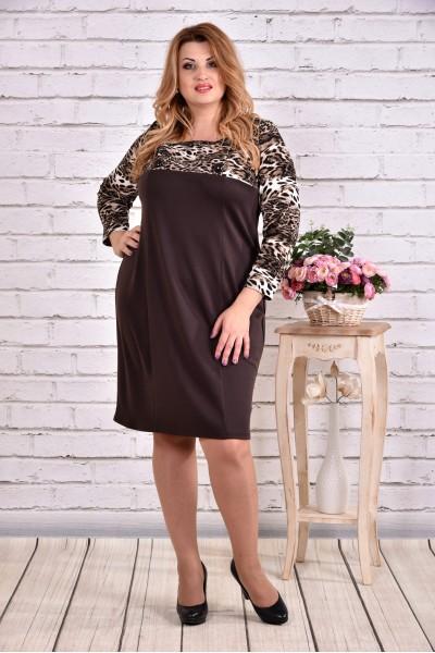 Фото Леопардовое коричневое платье из трикотажа | 0607-2