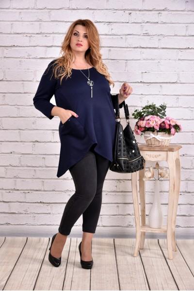 Фото Синя блуза-туніка з трикотажу | 0612-1