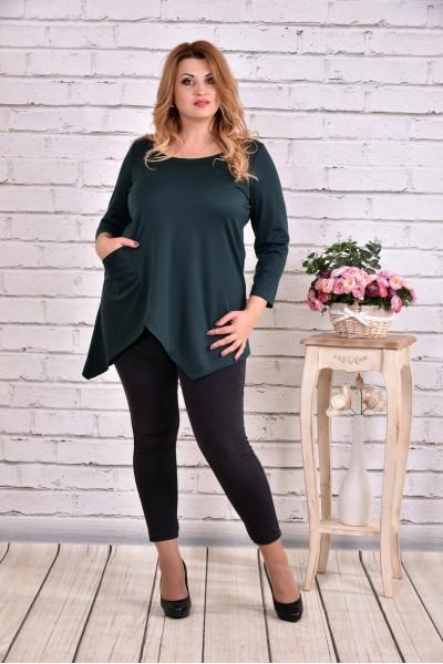 Фото Ассиметричная блузка туника зеленого цвета | 0612-2
