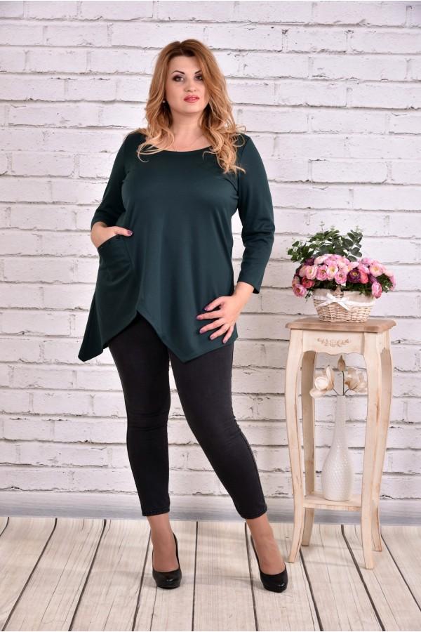 Фото Асиметрична блузка туніка зеленого кольору | 0612-2