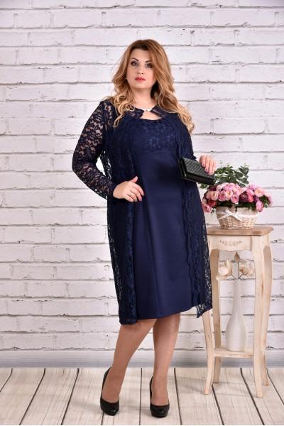 Фото Очень нарядный синий костюм: платье с гипюровой накидкой | 0613-1