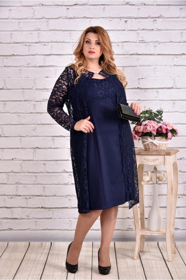 Фото Очень нарядный синий костюм: платье с гипюровой накидкой   0613-1