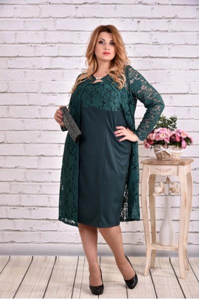 Фото Великолепный зеленый костюм двойка: платье и накидка | 0613-2