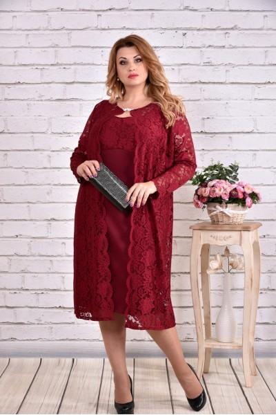 Фото Оригинальный бордовый костюм двойка: платье и накидка | 0613-3