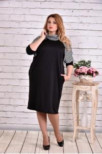 Фото Трикотажное черное платье с полоской | 0615-2
