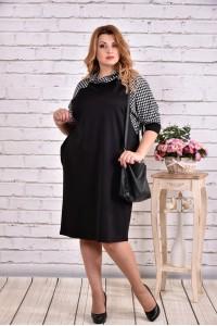 Фото Свободное платье черного цвета с гусиной лапкой | 0615-3
