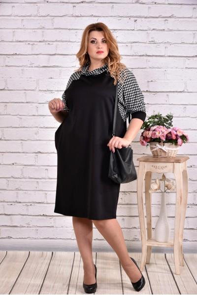 Фото Вільне плаття чорного кольору з гусячої лапкою | 0615-3