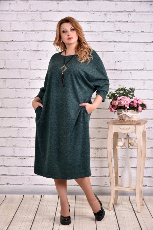 Фото Приємна зелена сукня з ангори | 0616-3