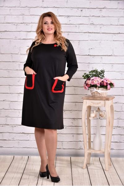 Фото Прямое черное платье с карманами | 0617-1