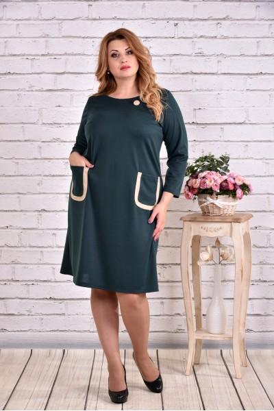 Фото Зеленое платье миди с карманами | 0617-2
