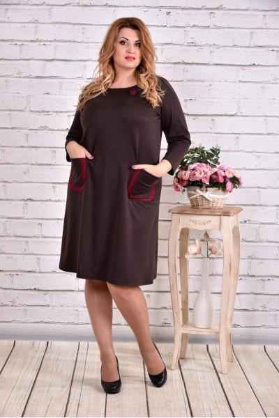 Фото Шоколадное платье из французского трикотажа | 0617-3