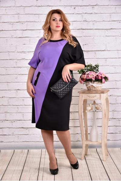 Фото Сиреневое с черным платье, которое стройнит | 0622-1