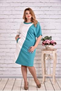 Фото Бело-голубое нарядное платье миди | 0622-2