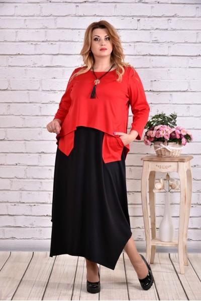 Алое длинное платье с карманами | 0623-2