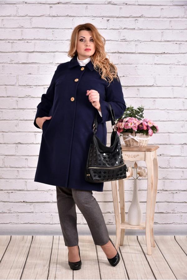 Фото Синє кашемірове пальто осінь-весна   t0614-2