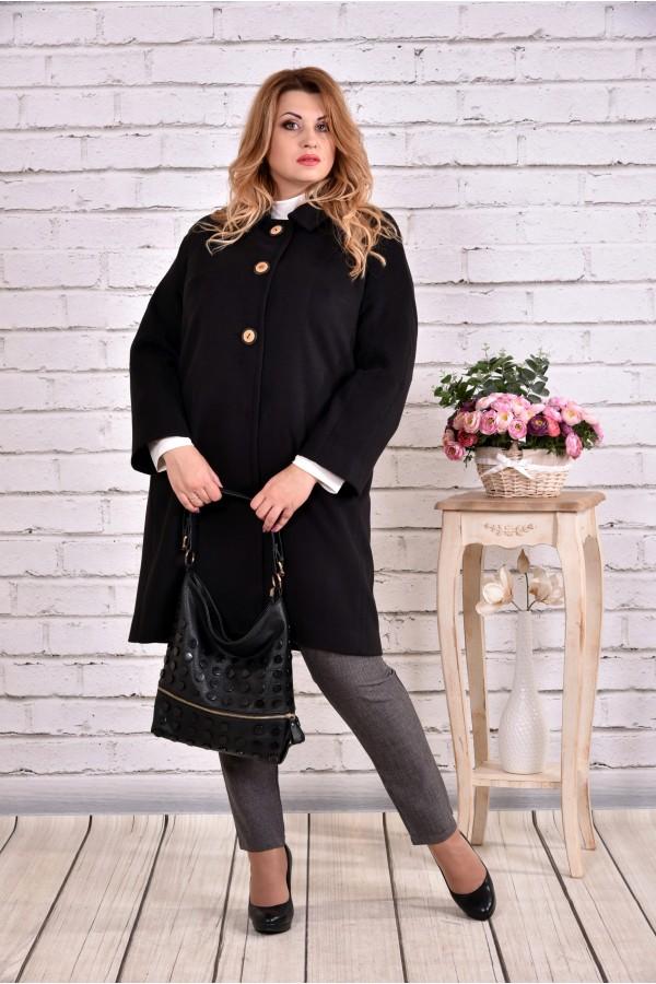 Фото Демісезонне чорне пальто суворого стилю   t0614-3