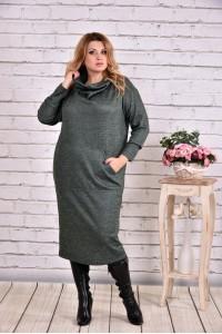 Зеленое платье ниже колена | 0624-1