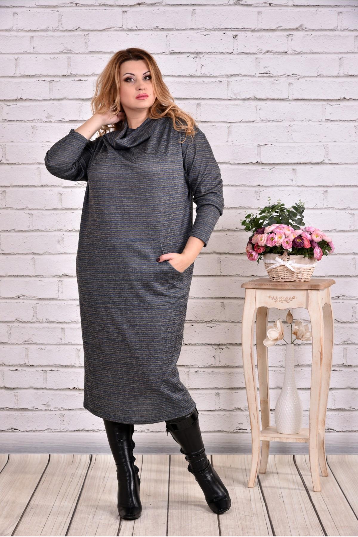 faf9581fe35 Синее длинное платье из ангоры 0624-2 купить недорого в Украине