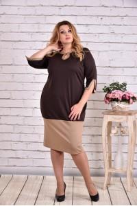 Фото Шоколадное двухцветное платье | 0625-1