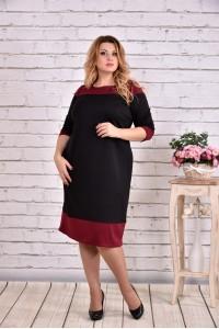 Фото Череное с бордовым платье | 0626-2