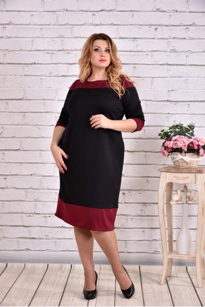 Фото Чорний з бордовим плаття | 0626-2