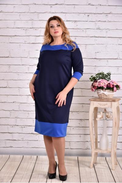 Синє плаття з трикотажу | 0626-3