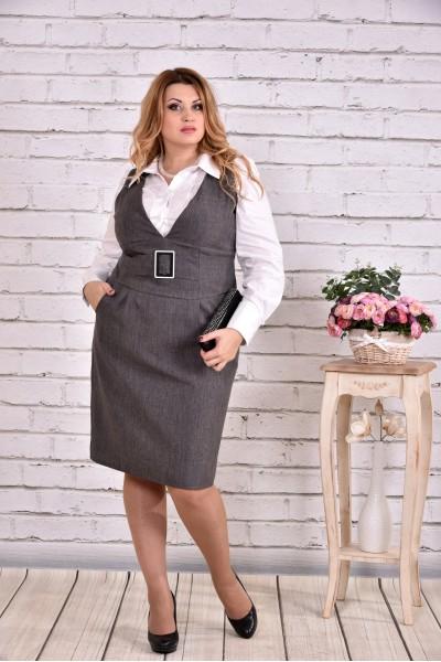 Фото Сіра сукня | 0628-1 (блузка 0646 окремо)