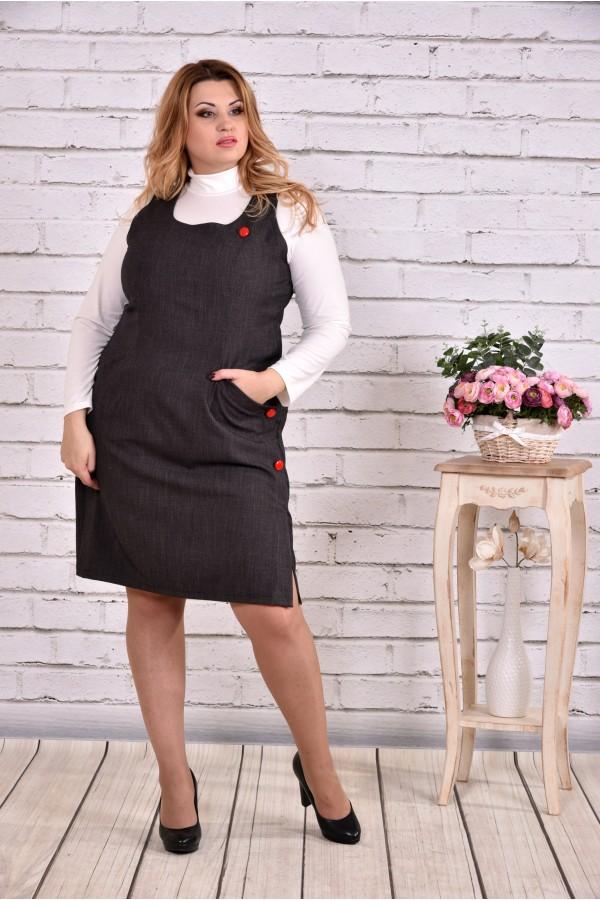 Фото Темно-сіра сукня з костюмкі | 0629-1 | гольфик окремо