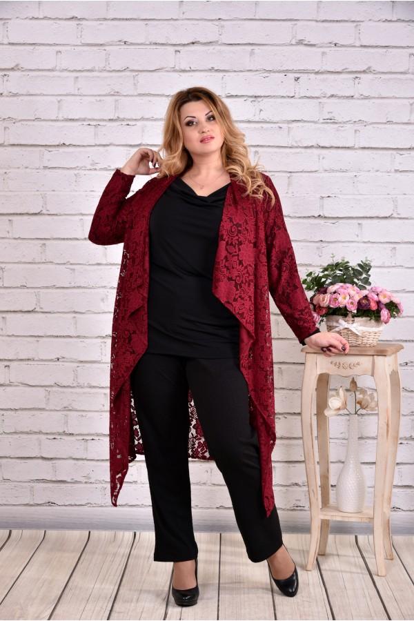 Фото Комплект: бордовая накидка и блузка | 0632-1