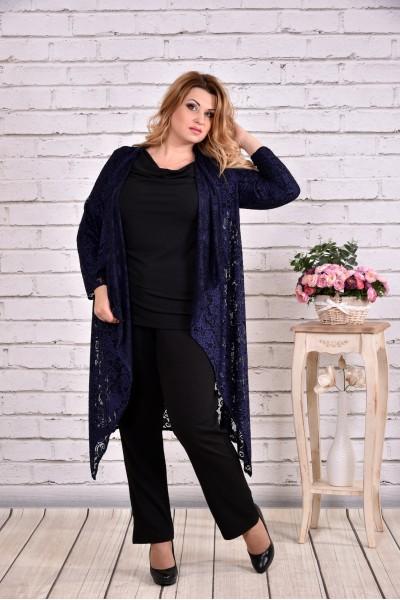 Фото Комплект: синяя накидка и черная блузка | 0632-2