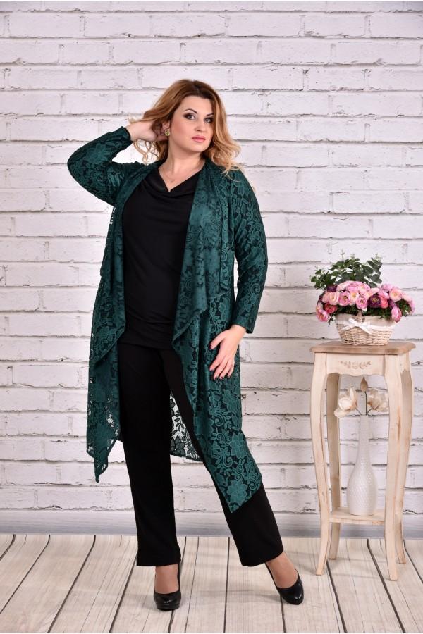 Фото Зеленая накидка и черная блузка (комплект) | 0632-3