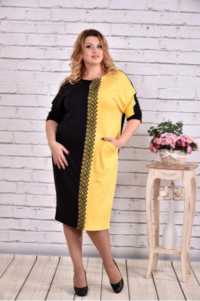 Фото Черное с желтым платье | 0634-1
