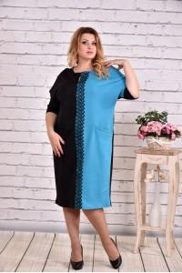 Фото Голубое платье с карманами | 0634-3