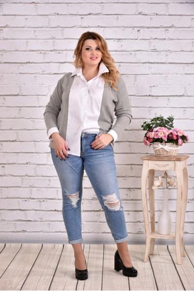 Фото Сіра блузка сорочка | 0637-1