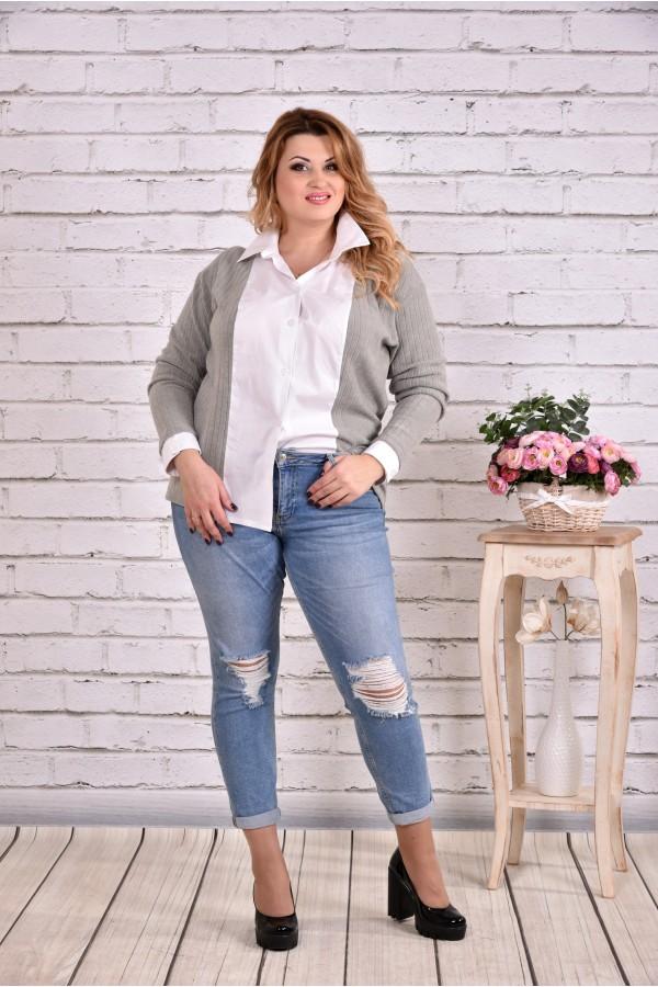 Фото Серая блузка рубашка   0637-1
