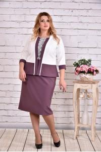 Фото Фиолетовый костюм: платье и жакет | 0641-2
